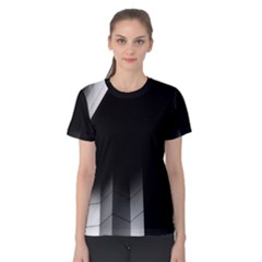 Wall White Black Abstract Women s Cotton Tee