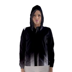 Wall White Black Abstract Hooded Wind Breaker (Women)