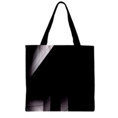 Wall White Black Abstract Zipper Grocery Tote Bag
