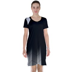 Wall White Black Abstract Short Sleeve Nightdress