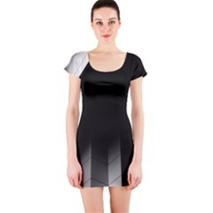 Wall White Black Abstract Short Sleeve Bodycon Dress