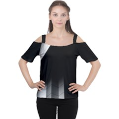 Wall White Black Abstract Women s Cutout Shoulder Tee
