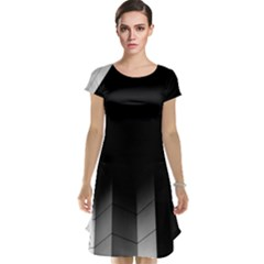 Wall White Black Abstract Cap Sleeve Nightdress