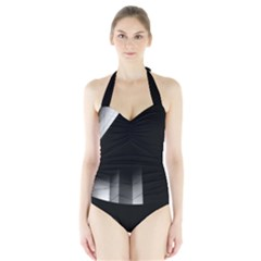 Wall White Black Abstract Halter Swimsuit