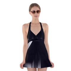 Wall White Black Abstract Halter Swimsuit Dress