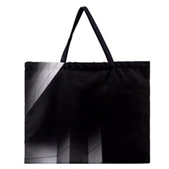 Wall White Black Abstract Zipper Large Tote Bag