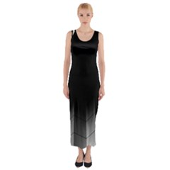 Wall White Black Abstract Fitted Maxi Dress