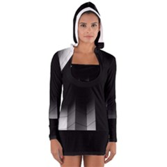 Wall White Black Abstract Women s Long Sleeve Hooded T Shirt