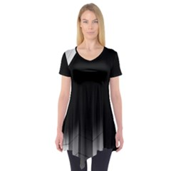 Wall White Black Abstract Short Sleeve Tunic