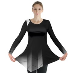 Wall White Black Abstract Long Sleeve Tunic