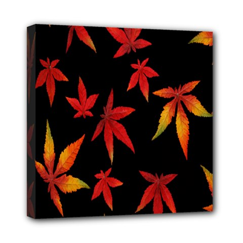 Colorful Autumn Leaves On Black Background Mini Canvas 8  X 8