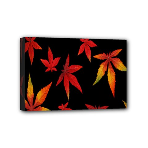 Colorful Autumn Leaves On Black Background Mini Canvas 6  X 4