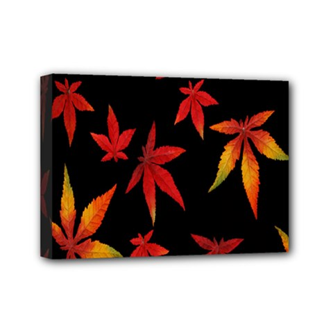 Colorful Autumn Leaves On Black Background Mini Canvas 7  x 5