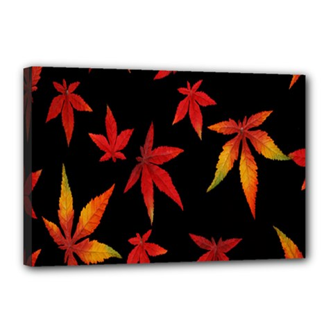 Colorful Autumn Leaves On Black Background Canvas 18  X 12