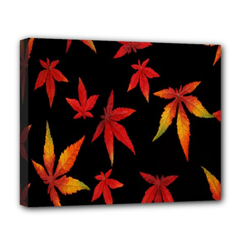 Colorful Autumn Leaves On Black Background Deluxe Canvas 20  X 16