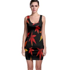 Colorful Autumn Leaves On Black Background Sleeveless Bodycon Dress