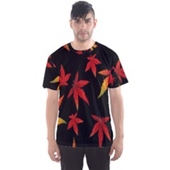Colorful Autumn Leaves On Black Background Men s Sport Mesh Tee