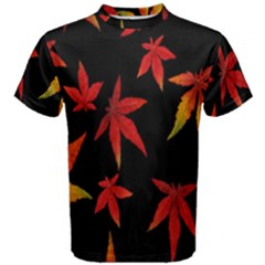 Colorful Autumn Leaves On Black Background Men s Cotton Tee