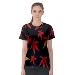 Colorful Autumn Leaves On Black Background Women s Sport Mesh Tee