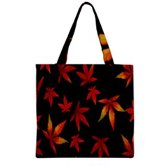Colorful Autumn Leaves On Black Background Grocery Tote Bag