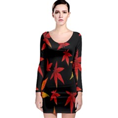 Colorful Autumn Leaves On Black Background Long Sleeve Bodycon Dress