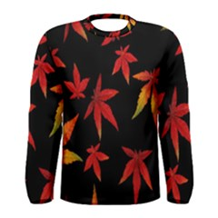 Colorful Autumn Leaves On Black Background Men s Long Sleeve Tee