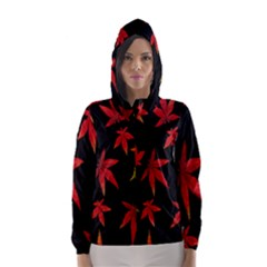Colorful Autumn Leaves On Black Background Hooded Wind Breaker (women)