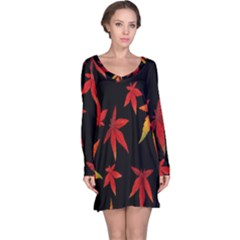 Colorful Autumn Leaves On Black Background Long Sleeve Nightdress