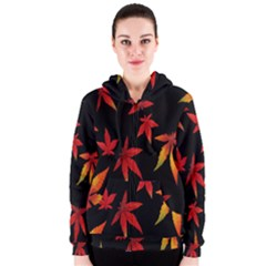 Colorful Autumn Leaves On Black Background Women s Zipper Hoodie