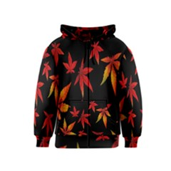 Colorful Autumn Leaves On Black Background Kids  Zipper Hoodie