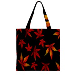 Colorful Autumn Leaves On Black Background Zipper Grocery Tote Bag