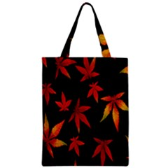 Colorful Autumn Leaves On Black Background Zipper Classic Tote Bag