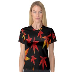 Colorful Autumn Leaves On Black Background Women s V Neck Sport Mesh Tee