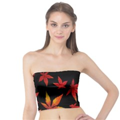 Colorful Autumn Leaves On Black Background Tube Top