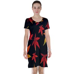 Colorful Autumn Leaves On Black Background Short Sleeve Nightdress