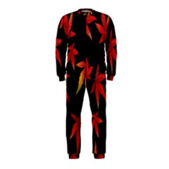 Colorful Autumn Leaves On Black Background Onepiece Jumpsuit (kids)