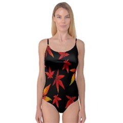 Colorful Autumn Leaves On Black Background Camisole Leotard