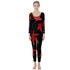 Colorful Autumn Leaves On Black Background Long Sleeve Catsuit