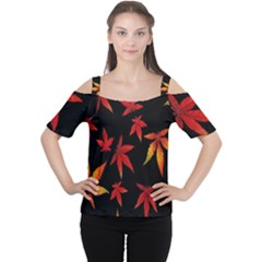 Colorful Autumn Leaves On Black Background Women s Cutout Shoulder Tee