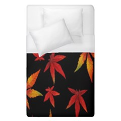 Colorful Autumn Leaves On Black Background Duvet Cover (single Size)