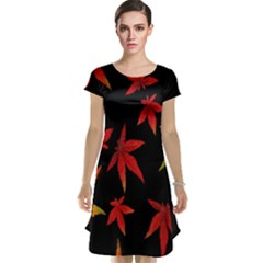Colorful Autumn Leaves On Black Background Cap Sleeve Nightdress