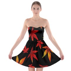 Colorful Autumn Leaves On Black Background Strapless Bra Top Dress