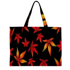 Colorful Autumn Leaves On Black Background Large Tote Bag