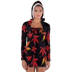Colorful Autumn Leaves On Black Background Women s Long Sleeve Hooded T Shirt