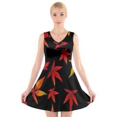 Colorful Autumn Leaves On Black Background V Neck Sleeveless Skater Dress