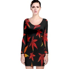 Colorful Autumn Leaves On Black Background Long Sleeve Velvet Bodycon Dress