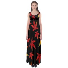 Colorful Autumn Leaves On Black Background Empire Waist Maxi Dress