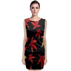 Colorful Autumn Leaves On Black Background Classic Sleeveless Midi Dress