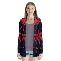 Colorful Autumn Leaves On Black Background Cardigans
