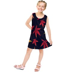 Colorful Autumn Leaves On Black Background Kids  Tunic Dress